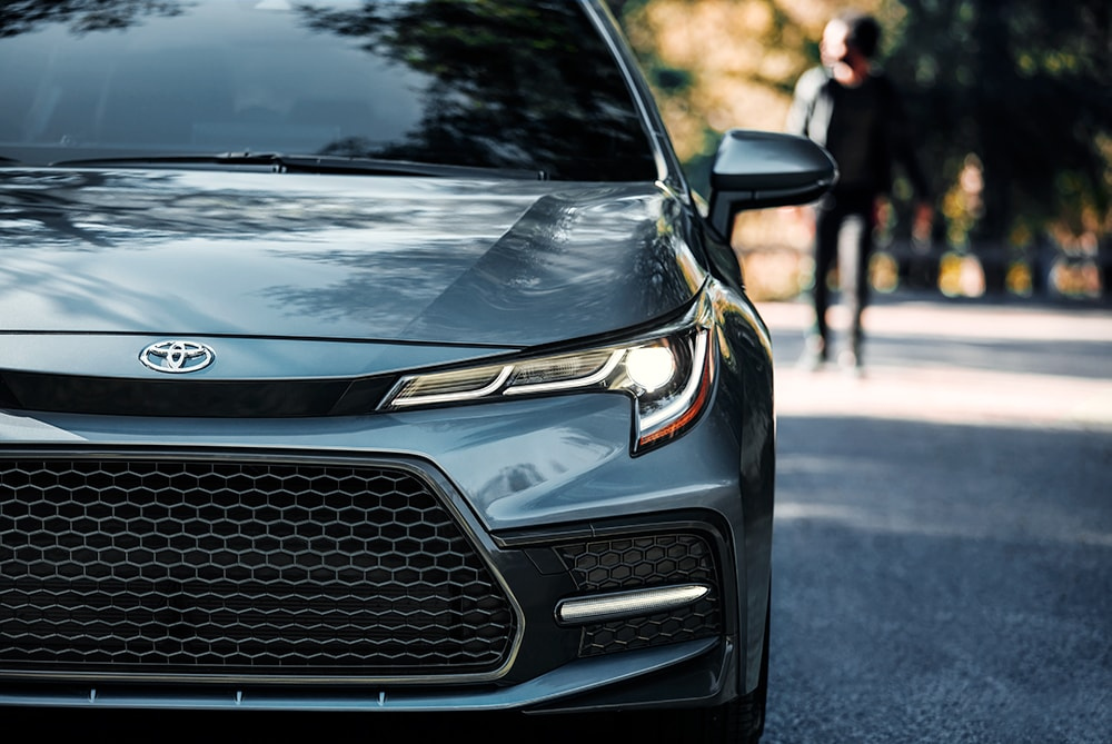 Model Features of the 2020 Toyota Corolla at Hanover Toyota in Hanover | Close up of the front view of the 2020 toyota corolla