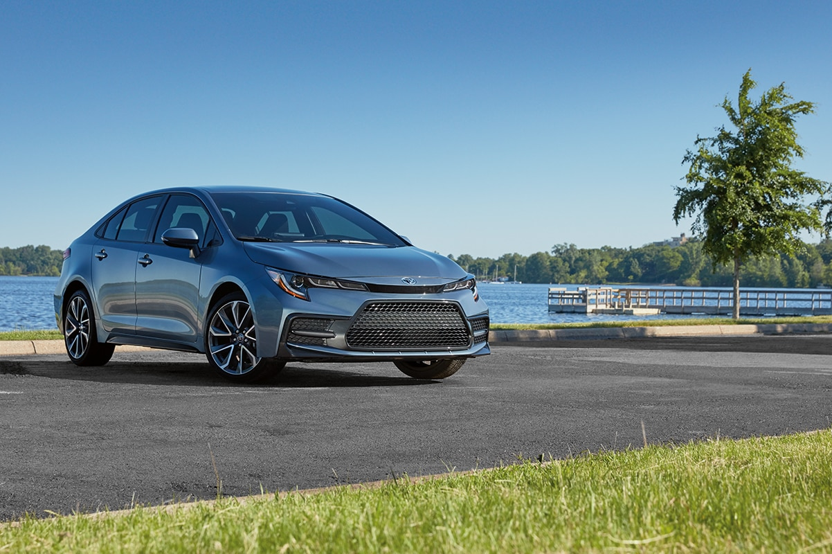 Model Features of the 2020 Toyota Corolla at Hanover Toyota in Hanover | Gray 2020 toyota corolla parked on road