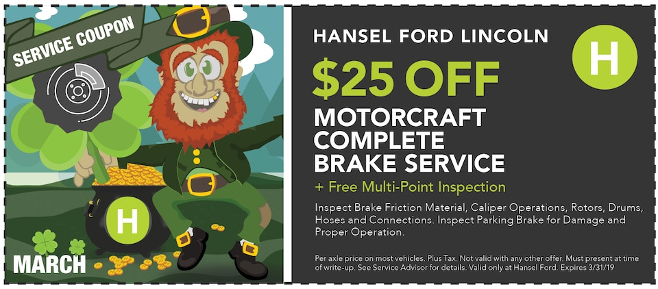 $25 Off Motorcraft Complete Brake Service