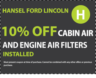 10% off cabin air and engine filters