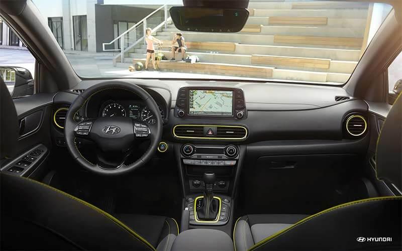 2018 Hyundai Kona with avalable black and lime interior