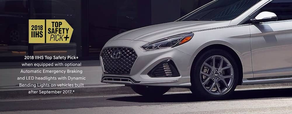 (also text over image) 2018 Hyundai Sonata is a winner of the Top Safety Pick+ Award when equipped with optional Automatic Emergency Braking and LED headlights with Dynamic Bending Lights on vehicles built after September 2017.*