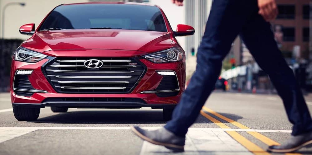 2018 Hyundai Elantra demonstrating pedestrian detection