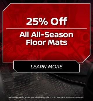 25% Off All All-Season Floor Mats
