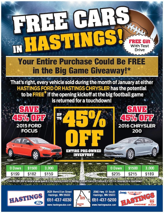 Free Car Giveaway >> Free Cars Giveaway Hastings Chrysler Center Inc