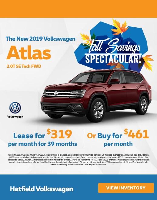 2019 Volkswagen Atlas Lease & Purchase Specials