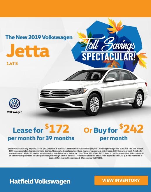 2019 Volkswagen Jetta Lease & Purchase Specials