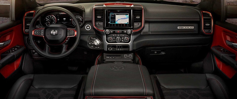 The dashboard of the 2019 ram 1500 Rebel