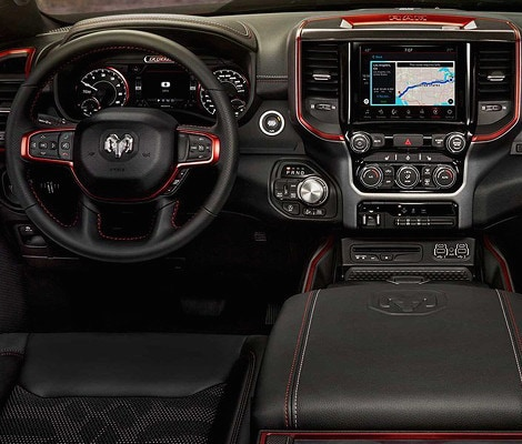 The dashboard on the 2019 Ram 1500 Rebel