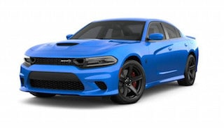 A blue 2019 Dodge Charger Hellcat