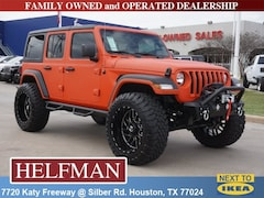 Lifted 2018 Jeep Wrangler UNLIMITED SPORT S 4X4 Sport Utility 1C4HJXDN1JW238999 for Sale in Houston, TX at Helfman Dodge Chrysler Jeep Ram
