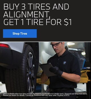 Buy 3 Tires & Alignment, Get 1 Tire for $1