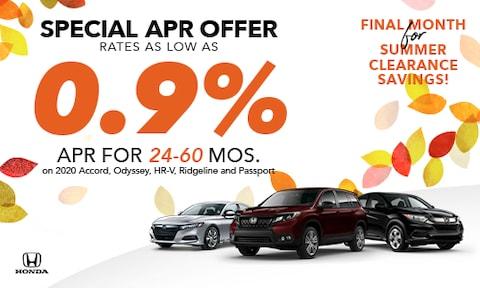 .9% APR Offer Accord, HR-V, Odyssey