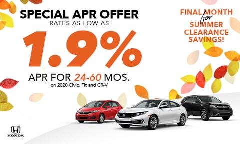 1.9% Offer Civic, Fit, CR-V