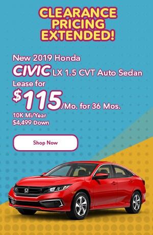 New 2019 Honda Civic LX 1.5 CVT Auto Sedan