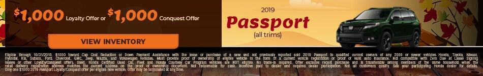 2019 Honda Passport 10/4/2019