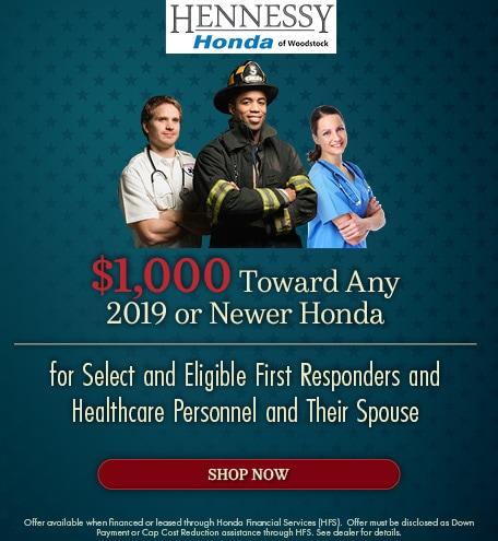 $1,000 Toward Any 2019 or Newer Honda