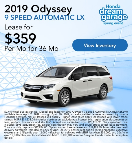 OT 2019 Odyssey 9 Speed Automatic LX 4/9/2019