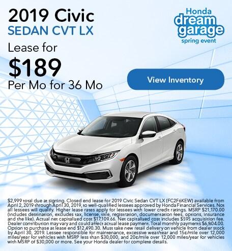 OT 2019 Civic Sedan CVT LX 4/9/2019