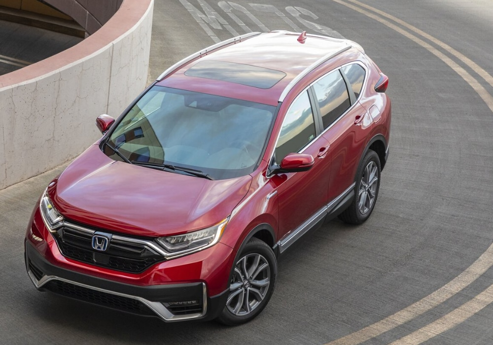 Aerial view of a 2020 Honda CR-V hybrid exiting a parking garage
