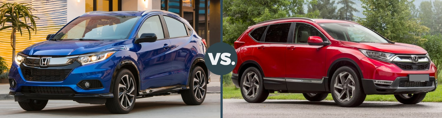Back to back view comparing the 2019 Honda HR-V to the 2019 Honda CR-V