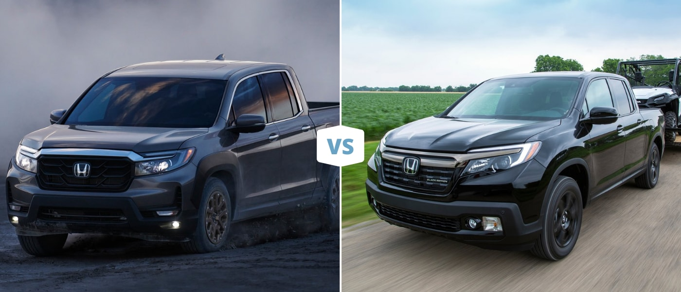 A new 2021 vs. 2020 Honda Ridgeline Black Edition in-motion driving down an open road compared to towing a small ATV on a country road