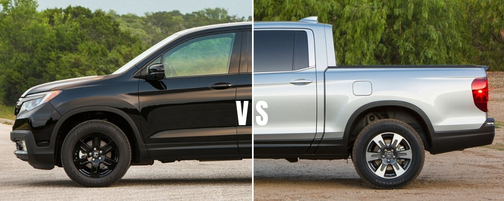 Split image where one side shows the front end of the upcoming 2021 Honda Ridgeline Black Edition and the right side features the truck bed of a silver 2020 Honda Ridgeline Sport