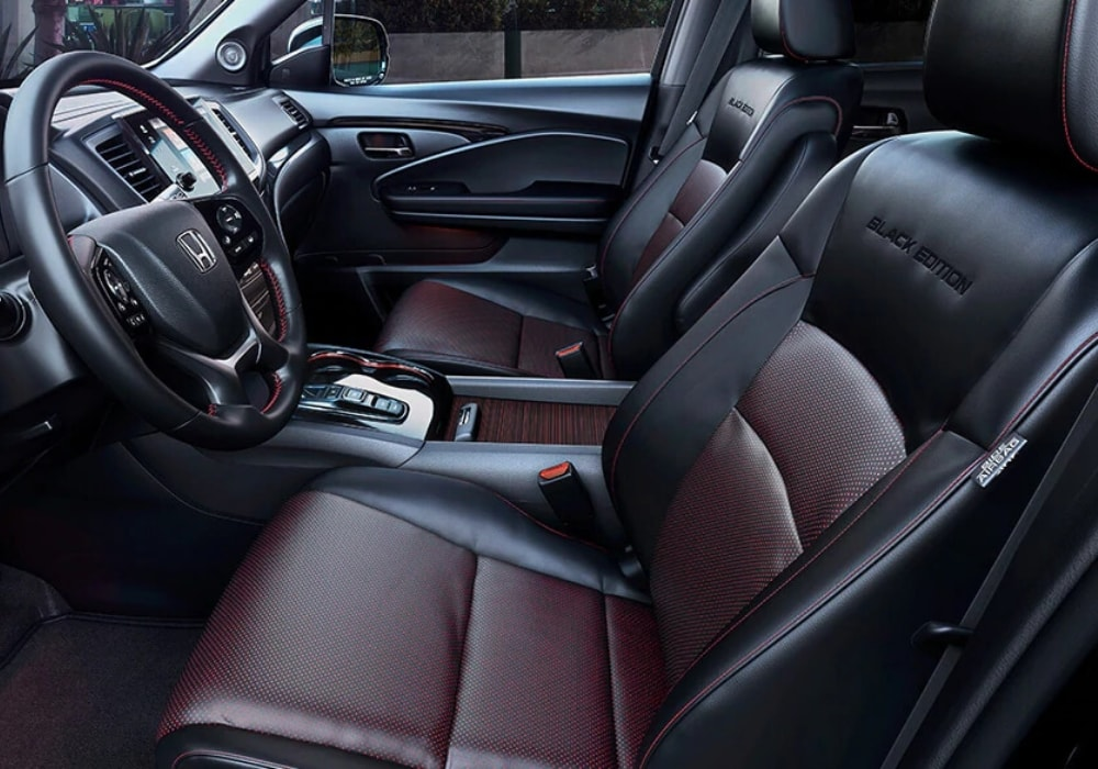 2020 Honda Pilot Black Edition interior with special red trims and accents