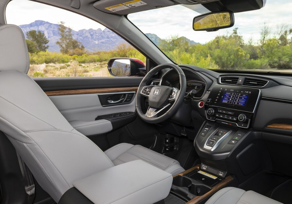 Interior front cabin design inside the 2020 Honda CR-V Hybrid