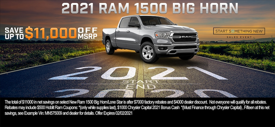 Save up to $11,000 OFF MSRP on 2021 Ram 1500 Big Horn Crew Cab