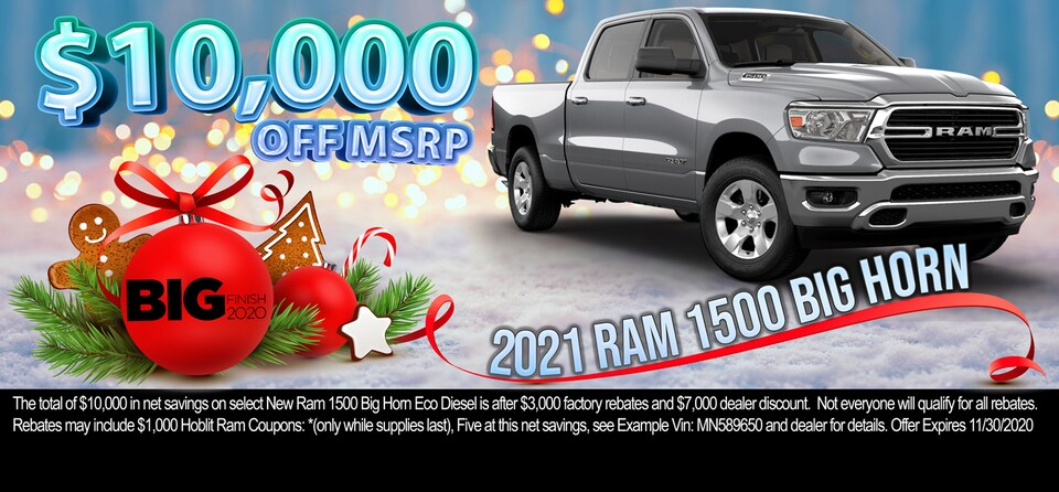 Save up to $10,000 OFF MSRP on 2021 Ram 1500 Big Horn Crew Cab