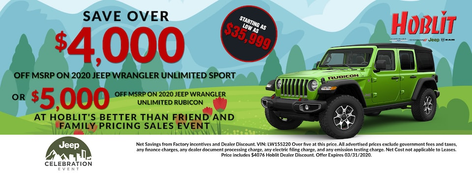 Save Over $5000 off MSRP on 2020 Jeep Wrangler Unlimited