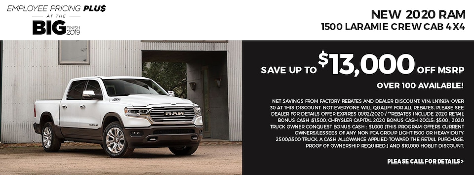 Save up to $13,000 off MSRP on 2020 Ram 1500 Laramie Crew Cab 4x4