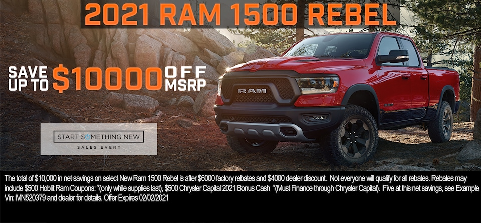 Save up to $10,000 OFF MSRP on 2021 Ram 1500 Rebel Crew Cab