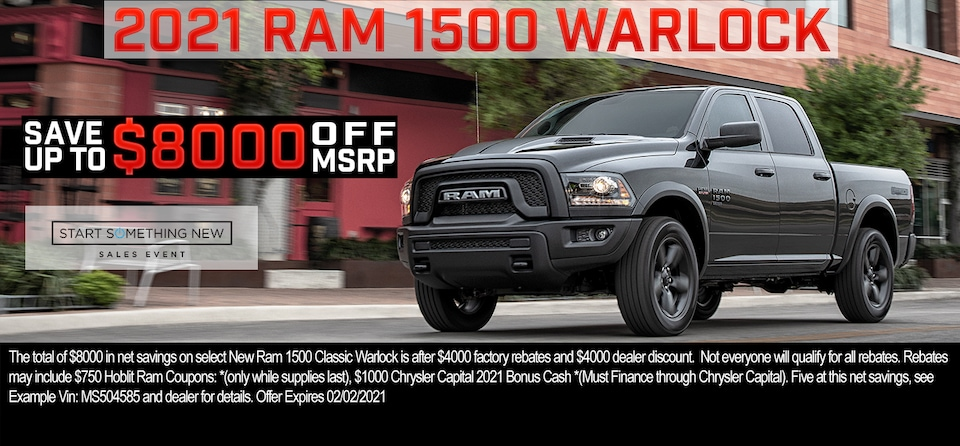 Save up to $8,000 OFF MSRP on 2021 Ram 1500 Classic Warlock