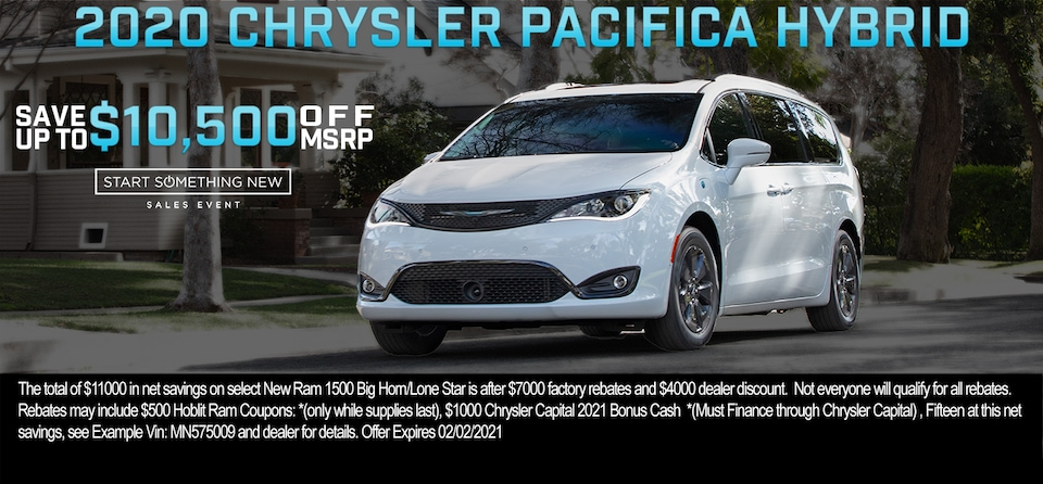 Save up to $10,500 OFF MSRP on 2020 Chrysler Pacifica Hybrid Limited
