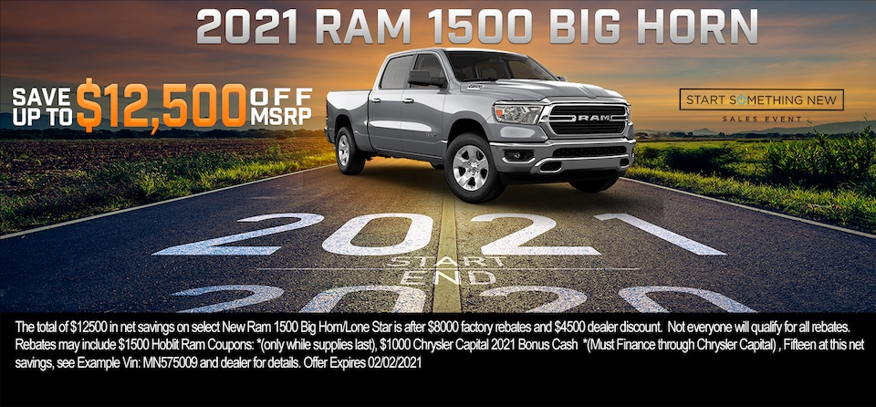 Save up to $12,500 OFF MSRP on 2021 Ram 1500 Big Horn Crew Cab