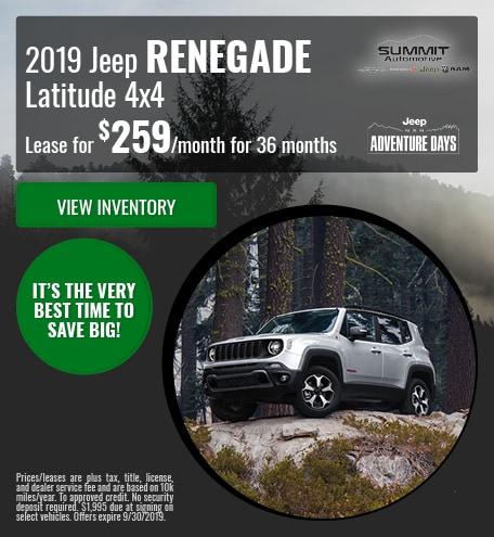September 2019 Jeep Renegade Latitude 4x4