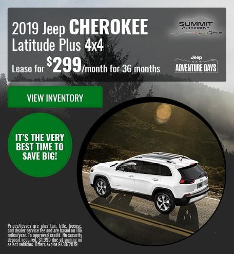 September 2019 Jeep Cherokee Latitude Plus 4X4