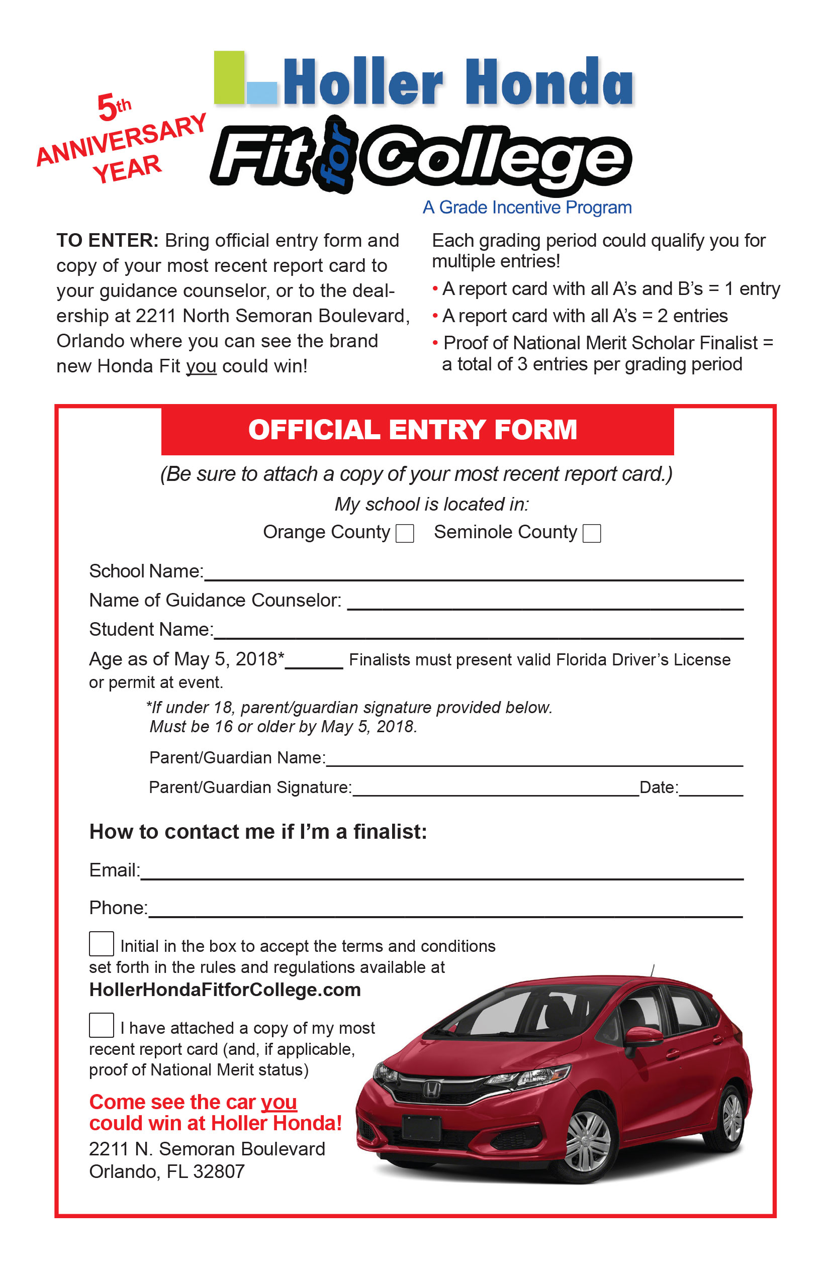 Submission Form - Holler Honda's Fit for College Car Giveaway