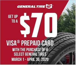 Get Up To $70 Visa Card W/ Purchase Of Select 4 General Tires
