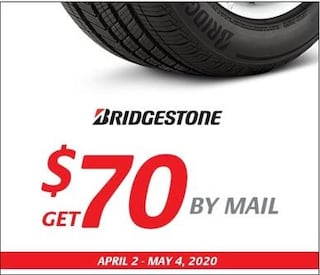 $70 By Mail When You Purchase Bridgestone Tires