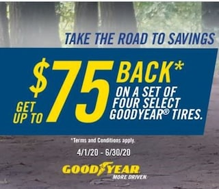 Up To $75 Back On Select 4 Goodyear Tires