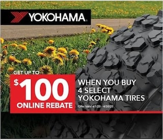 $100 Online Rebate When You Buy 4 Select Yokohama Tires