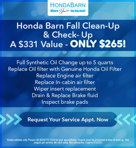 Honda Barn Fall Clean-Up & Check Up! A $331 Value - Only $265!