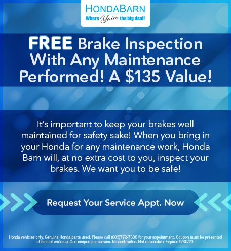 Free Brake Inspection With Any Maintenance Performed! A $135 Value!