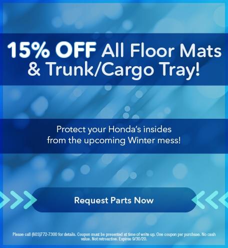 15% Off All Floor Mats & Trunk/Cargo Tray!