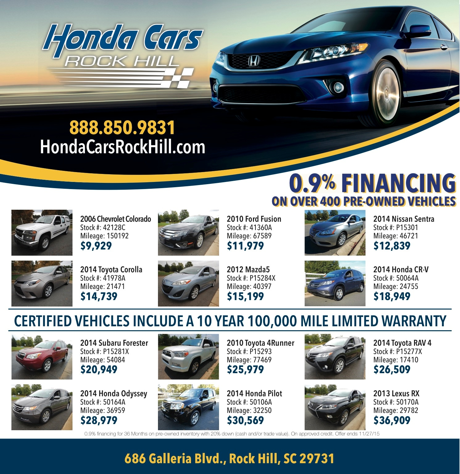 Honda Cars of Rock Hill Featured Deals