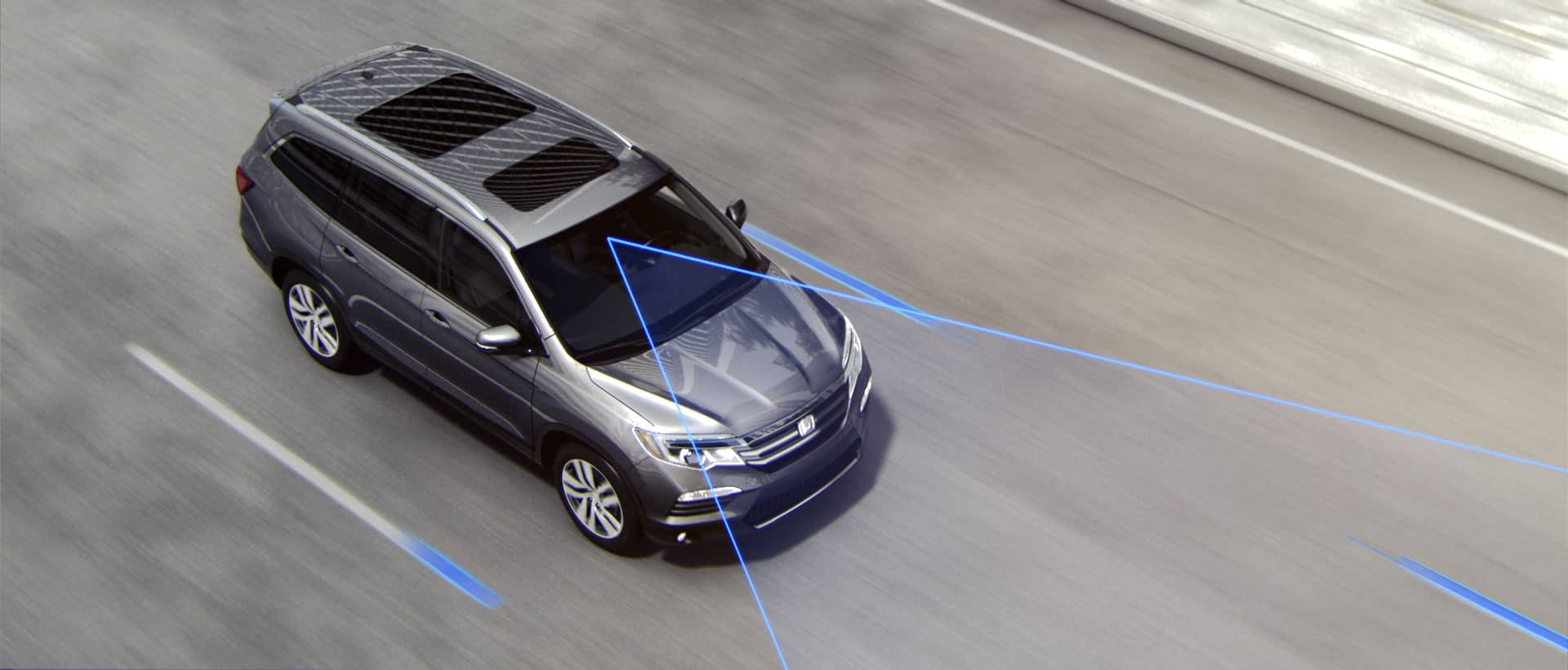 2019 Honda CR-V demonstrating an illustration of lane departure warning and Honda sensing technology