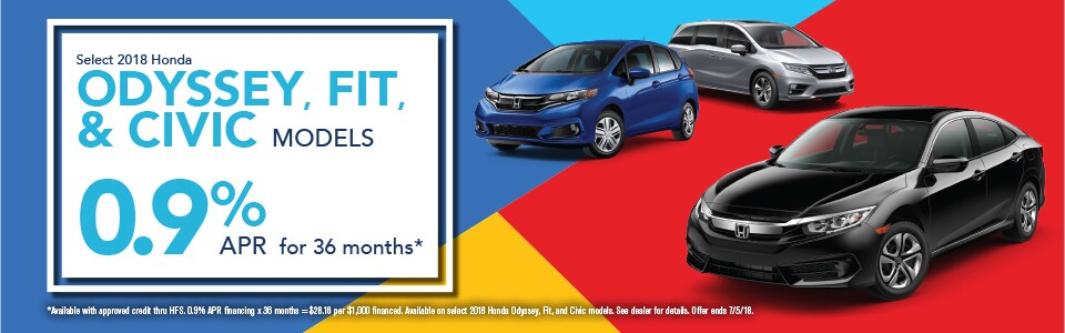 Select 2018 Honda Odyssey, Fit, and Civic Models for 0.9% APR